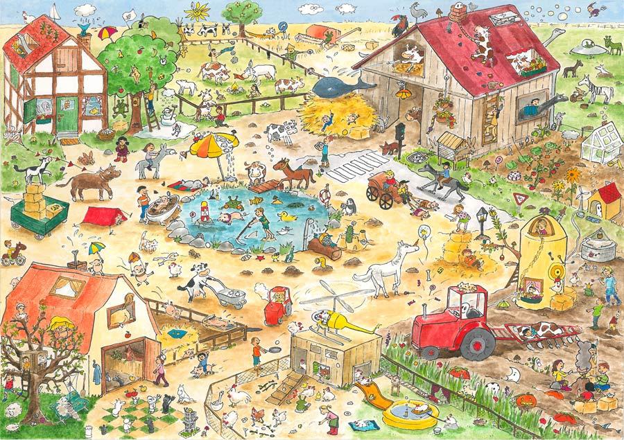 Wimmelbild Bauernhof